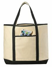 "22"" LARGE Canvas Reusable Grocery Shopping Bag Boat Tote Beach Totes Bag"