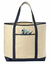 "22"" LARGE Canvas Reusable Grocery Shopping Bag Boat Tote Totes Bag 4 COLOR"