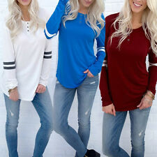 Fashion Women Lady Casual T-shirt Tops Stripe Cotton Loose Shirt Blouse Pullover