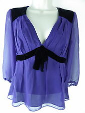 REISS purple top blouse Size 10 lined pleated velvet trim goth steampunk