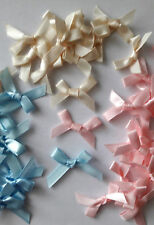 7mm Satin Ribbon Bows - Choose From Baby Pink, Baby Blue, Cream x 20