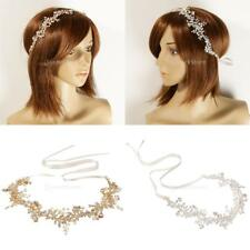 Romantic Crystal Pearls Leaves Headband Tiara Wedding Bride Girls Hair Accessory