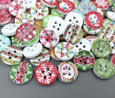 Mixed pattern Christmas Wooden Buttons Fit Sewing Scrapbooking 4 Holes 15mm