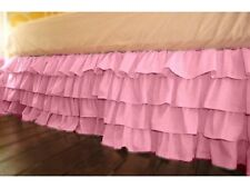 1Qty Multi Ruffle Bed Skirt Egyptian Cotton Pink Solid 1000 TC Drop 8-30''
