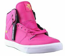 Supra Mens Vaider Hi Top Pink Magenta Satin TUF Skate Shoes Fashion Sneakers NIB