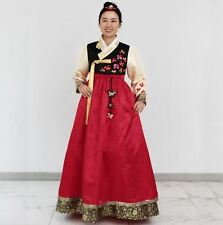 Hanbok Korean traditional Dress Young woman Red skirt butterfly shaped soother