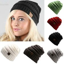 Winter Casual Unisex Men/Women Knitted Ski Cap Solid Beanie Cap Hat UK BLLT