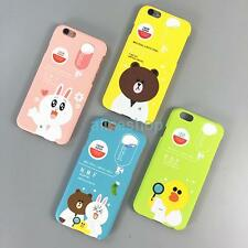 For iPhone 6 6S Plus 5S SE Cute Korean Cartoon Bear Rabbit Matte Hard Case Cover