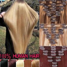 Long THICK Clip in Human Hair Extensions Highlight Mixcolour Double Weft  JY236