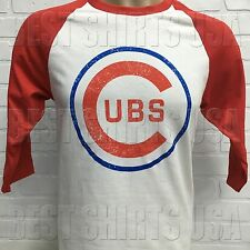 CHICAGO CUBS RETRO DISTRESSED LOGO RAGLAN 3/4 SLEEVE JERSEY