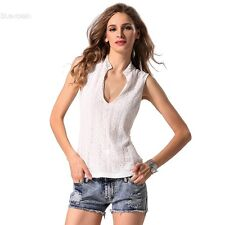 Women Sexy V-Neck Lace Floral Sleeveless Tops Casual Basic Slim Tank Tops BLLT
