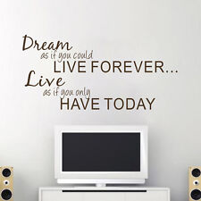 Philosophical Dream & Live Quotes Vinyl Wall Sticker DIY Home Mural Decals