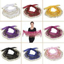 3 Rows 128 Gold Coins Belly Dance Costume Hip Scarf Skirt Belt Wrap Waist RX