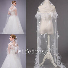 White/Ivory Flowers Feather Edge Long Wedding Bridal Veils Cathedral Free Comb