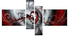 4 Piece Modern Art Abstract Painting Canvas Wall Red Framed Big Ready to Hang