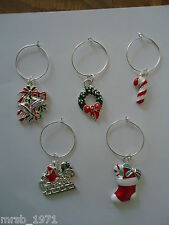 Wine Glass Charms - Christmas - Silver Tone Wine Ring / Charms - Variety of sets