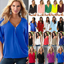Plus Size Womens Summer Chiffon Tank Tops T-shirt Ladies Casual Loose Blouse Tee