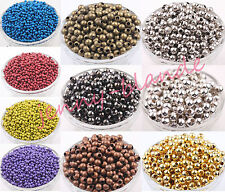 20-200Pcs Metal Round Ball Spacer Bead Jewelry Making Crafts 3/4/5/6/8mm DIY