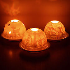 Lithophane Dome Tealight Holders - porcelain, candle, cosy, translucent, art, ca