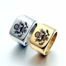 Fashion Jewelry Double Head Eagle Men's Stainless Steel Ring Band Engraved Rings