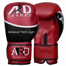 ARD® Art Leather Boxing Gloves Fight Punching Bag MMA Muay Thai Kickboxing- Red