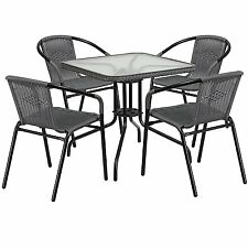 Furniture Square Glass Metal Table with Rattan Edging and 4 Rattan Stack Chairs