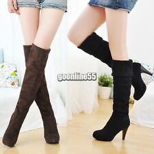 Women Over Knee Faux Suede Stretch Thigh High Slouchy high Heel Boots Shoes EA9
