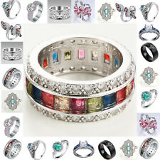Fashion Jewelry 925 Silver Topaz Gemstone Wedding Engagement Party Ring Size6-12