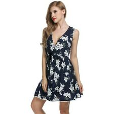 Zeagoo Women Crossover Deep V-Neck Sleeveless Floral Print Swing Dress ILOE