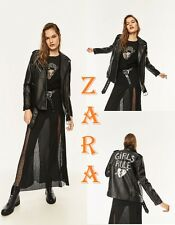 ZARA Printed Studded Biker Black Jacket FAUX Leather New (RT$119)Jacket Size M L