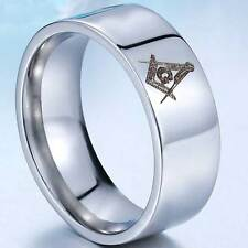 Silver Masonic Band Stainless Steel Ring Biker Rock Mens Jewelry Engagement Gift