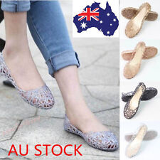 Women Crystal Slip On Shoes Soft Rubber Glitter Flats Ballet Jelly Thin Sandals