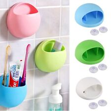 Storage Rack Stand Wall Suction Cup Toothbrush Holder Organizer Bathroom