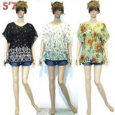 NEW XS/S/M Floral Prints Smock Chiffon See-Through Tunic Cover Beach Tops Blouse