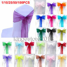 10/25/50/100Pcs Sheer Organza Chair Cover Sash Bow Wedding Party Reception Decor