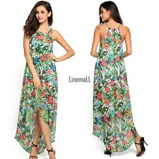 Women Loose Chiffon Halter Sleeveless Irregular Hem Floral Long Maxi Dress LM