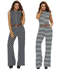 S-2XL sexy Long Wide Leg Jumpsuits Women New Casual Belted Jumpsuit Rompers
