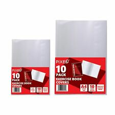 Pixel® Self Adhesive / Slip On Jacket Exercise Book Covers Clear (Pack of 10)