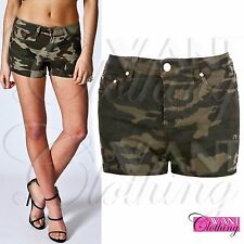 NEW GREEN ARMY CAMO PRINT HOT PANTS STRETCH DENIM CAMOUFLAGE SHORTS COMBAT JEANS