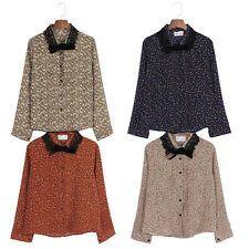 Womens Long Sleeve Flower Printed Bow Tied Shirt Lace Collar Blouse Fashion