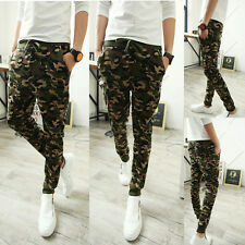 Mens Casual Elastic Harem Camouflage Pencil Pants Dance Skinny Trousers Slacks J