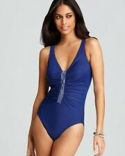 NEW Miraclesuit Size 14 Jewel Box Blue 1-PC Swimsuit $170 NWT