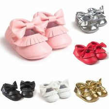 0-18M Cute Baby Girls Soft Soled  Moccasin PU Leather Infant Toddler Bow Shoes