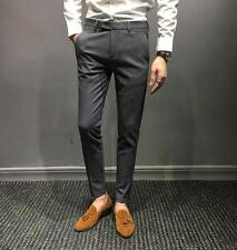Mens Stretchy Skinny Pants Mid Rise Retro Slim Casual Dress pencil trousers New