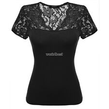 Zeagoo Women Cotton Casual Lace V-Neck Cap Sleeve Blouse Tops WST