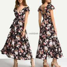 Women Fashion Deep V-Neck Floral Long Maxi Beach Swing Dress WST