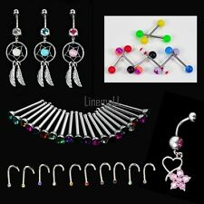 Crystal Catcher Navel Dangle Barbell Nose Tongue Belly Bar Ring Body Piercing LM