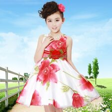 Fashion Summer Kids Girls Sleeveless High Waist Dress O-Neck Floral OK02