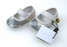 BURBERRY BABY GIRL BALLERINA FLATS SHOES WHITE LEATHER AND COTTON CODE 4013928