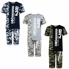 BOYS SHORTS T SHIRT SET 2 PIECE OUTFIT #87 CAMOUFLAGE 3-12 YEARS BNWT